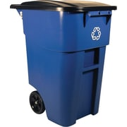 "Rubbermaid® Brute® Recycling Rollout Container with Lid, 50 Gallon, Blue, 36 1/2""H x 23 2/5""W x 28 1/2""L"