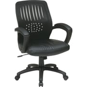 Office Star Leather Managers Office Chair, Fixed Arms, Black (EM59722-EC3)