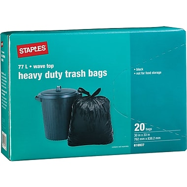 Staples® Black Garbage Bags, Wave Top, 30