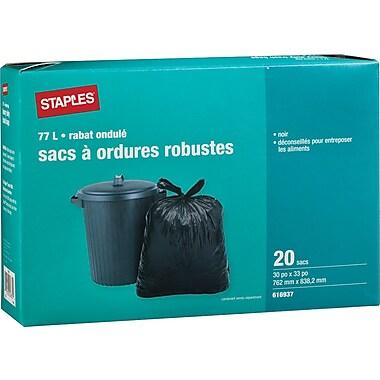 StaplesMD – Sacs à ordures noirs, dessus ondulé, 30 x 33 po, 20/pqt