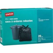 Staples® – Sacs à ordures noirs, dessus ondulé, 30 po x 33 po, paq./20