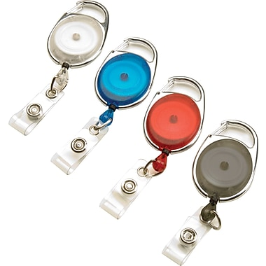 GBC® 3747498 Carabiner Badge Reel, Assorted, 4/Pack