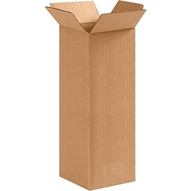 4''x4''x10'' Standard Corrugated Shipping Box, 200#/ECT, 25/Bundle (4410)