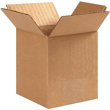 Partners Brand 4''x4''x6'' Standard Corrugated Shipping Box, 200#/ECT, 25/Bundle (PRA0002)