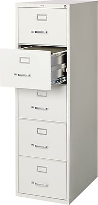 Staples 5-Drawer Legal Size Vertical File Cabinet, Light Grey (26.5-Inch)