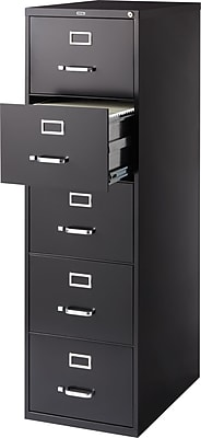 Staples 5-Drawer Legal Size Vertical File Cabinet, Black (26.5-Inch)