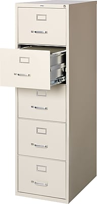 Staples 5-Drawer Legal Size Vertical File Cabinet, Putty (26.5-Inch)