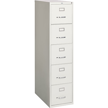 Staples 5-Drawer Letter Size Vertical File Cabinet, Light Grey (26.5-Inch)