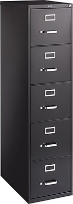 Staples 5-Drawer Letter Size Vertical File Cabinet, Black (26.5-Inch)