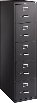 Staples Letter Size Vertical File Cabinet, Metal, Black, Letter Size, 26.5