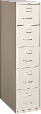 Staples 5-Drawer Letter Size Vertical File Cabinet, Putty (26.5-Inch)