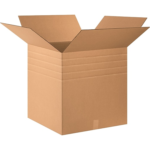 """24"""" x 24"""" x 24"""" Multi-Depth Shipping Boxes, 32 ECT, Brown, 15/Bundle (BS242424MD)"""