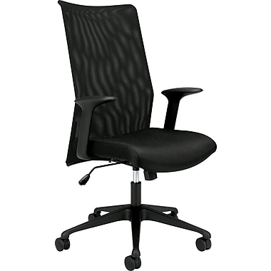basyx by HON® BSXVL573VB10 VL573 Fabric Mesh Back High-Back Office Chair with Fixed Arms, Black