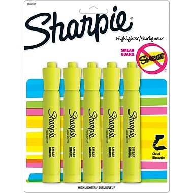 Sharpie® Accent® Highlighter, Chisel Tip, Fluorescent Yellow, 5/pk (1809200)