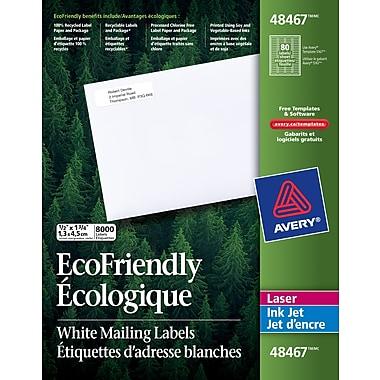 Avery® – Étiquettes d'adresse de retour écologiques, blanches, 48467, avec Easy Peel, 1 3/4 po x 1/2 po, paq./8000