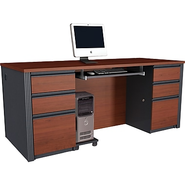 Bestar Prestige + Collection Double Pedestal Executive Desk, Bordeaux & Graphite
