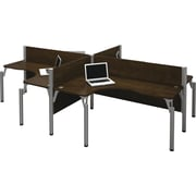 Bestar Pro-Biz Office System Quad Four L-Desk Workstation, 3/4 Wall, Chocolate