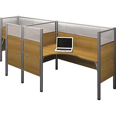 Bestar Pro-Biz Office System Double Side-by-Side Workstation, Additional Privacy Panels, Full Wall, Cappuccino Cherry