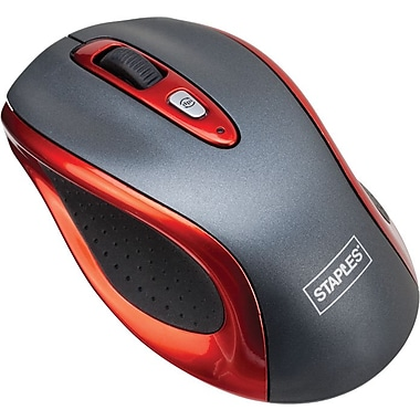 Staples® Wireless Optical Mouse, Red