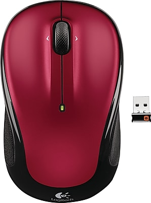 Logitech M325 Wireless Optical Mouse, Ambidextrous, Red (910-002651)