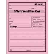 """Adams® """"While You Were Out"""" Message Pads, Pink, 12/Pack"""