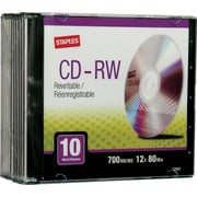 Staples 10/Pack 700MB CD-RW with Jewel Case