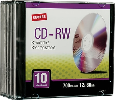 Staples 700MB 80MIN 12X CD-RW Slim Jewel Case, 10/Pack (21351-US)