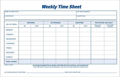 Adams® Weekly Time Sheets, 8-1/2