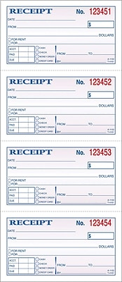 Adams® Carbonless Money/Rent Receipt Books, 5-1/4