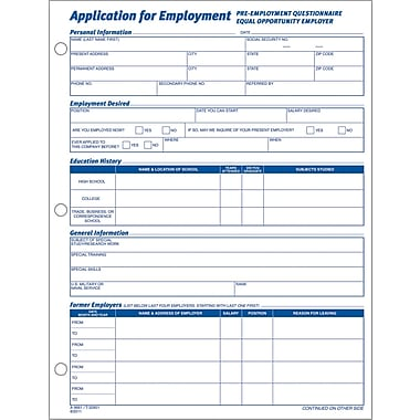 "Adams® Employment Application Forms, 8-1/2"" X 11"", 1 Part 