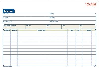 Adams Carbonless Invoice Forms 5916 x 8716 2 Part Staples