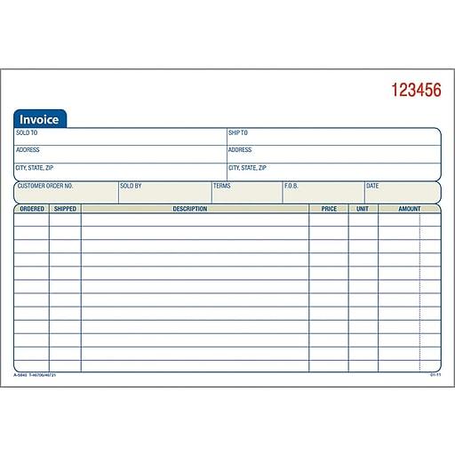 adams carbonless invoice forms 5 9 16 x 8 7 16 2 part staples