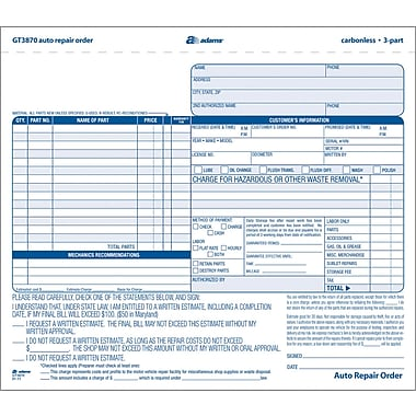 Adams Auto Repair Form  X   Part  Staples