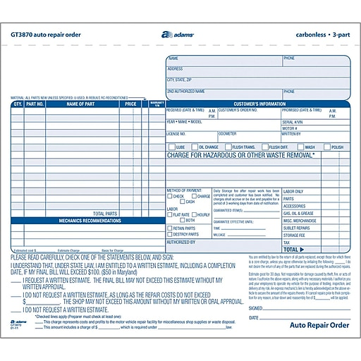 Adams Auto Repair Form X Part Staples - Repair invoice template free online lighting stores