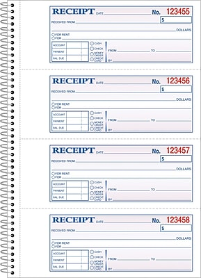 Carbonless 4 Receipts per Page 100 Sets per Book 3-Part White//Canary//Pink Bound Wraparound Cover 7-5//8 x 10-7//8 TC1182 New Adams Money and Rent Receipt Book