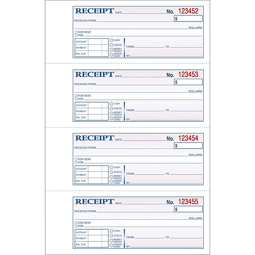 Adams Carbonless MoneyRent Receipt Books X Part - Rent invoice template free online candy store