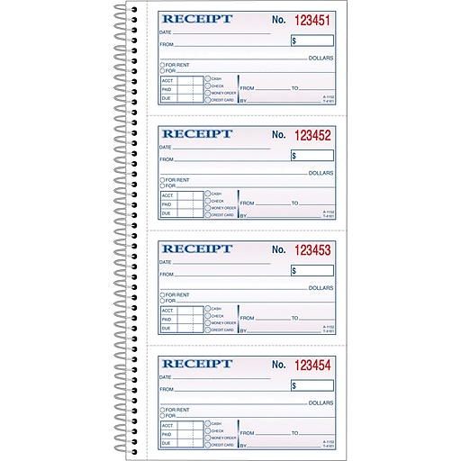Adams® Carbonless Money/Rent Receipt Books, Spiral Bound, 5-1/4\