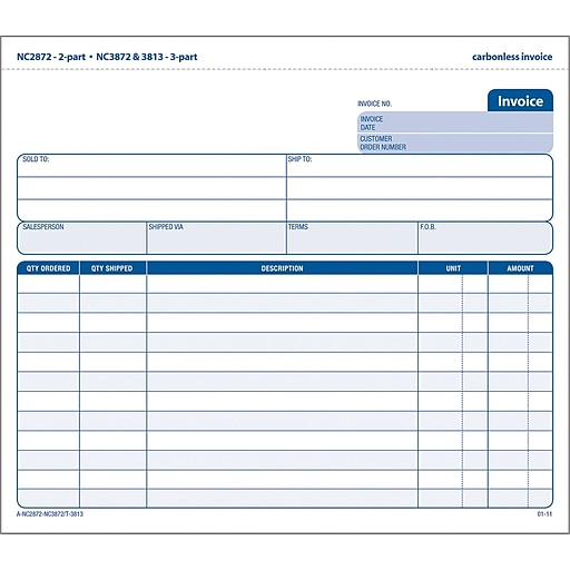 Adams Carbonless Invoices X Part Staples - Carbonless invoices