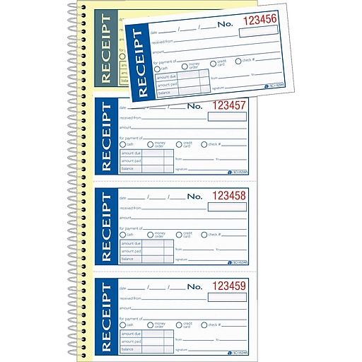 adams write stick receipt book 5 14 x 11 2 part