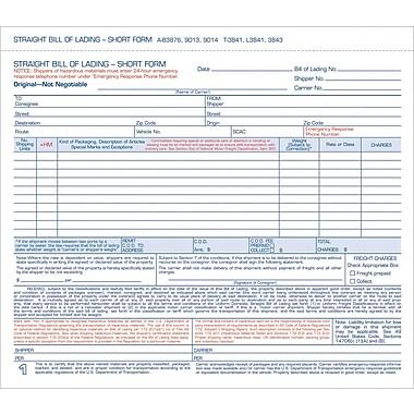 Tops® Snap-Off® Bill Of Lading, Short Forms, 8-1/2