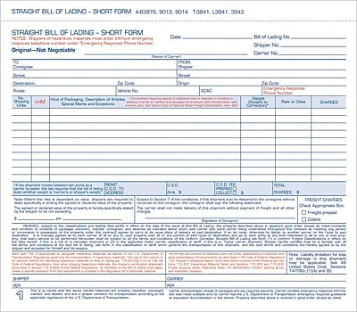 TOPS® Bill of Lading Unit Set, Ruled, 3-Part, White, 8 1/2