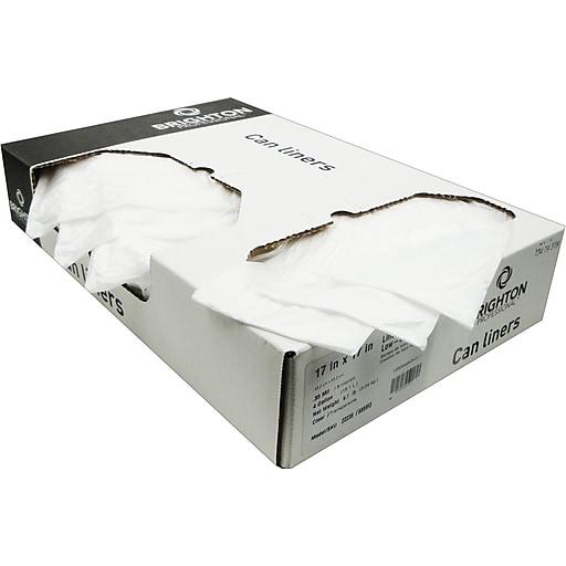 Brighton Professional Trash Bags 4 7 Gallon 17x17 Low Density 0 35 Mil Clear 1000 Ct