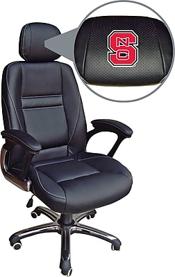 Wild Sports Head Coach Executive Chair, Leather, North Carolina State Wolfpack, Seat: 21 1/4