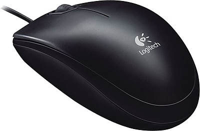 Logitech B100 Optical Wired USB Mouse, Black (910-001439)