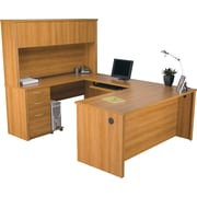 Bestar Embassy U-Workstation with Hutch, Cappuccino Cherry