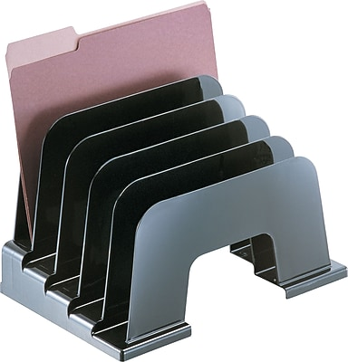 Officemate® Incline Sorter, Black, 5 Compartments, 9