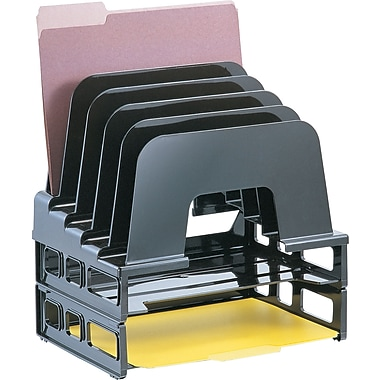 Officemate® Incline Sorter with Two Trays, 5 Compartments, Black, 9 1/2