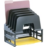 "Officemate® Incline Sorter with Two Trays, 5 Compartments, Black, 9 1/2"" x 12 1/4"" x 14"""