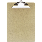 "OIC Hardboard Clipboard, Letter, Natural Brown, 9"" x 12 1/2"""