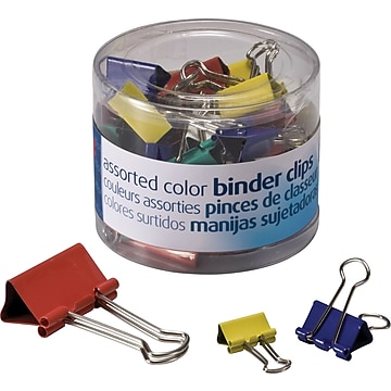 Officemate Colored Binder Clips Assortment, Assorted Sizes and Colors, 30/Pack (31026)